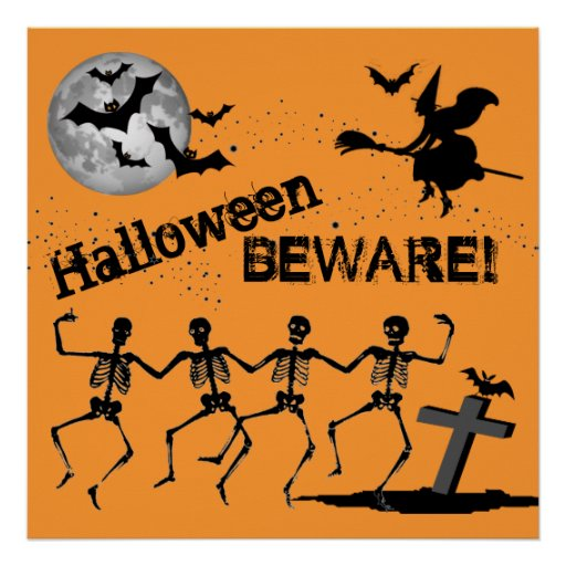 Midnight at Graveyard Cemetery Halloween Beware Posters