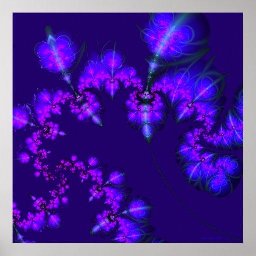 Midnight Blossoms Fractal Print