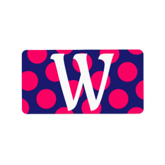 Midnight Blue and Bright Pink Dot Monogram Label