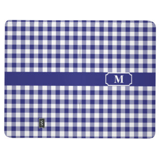 Midnight Blue and White checkered Gingham Monogram Journal