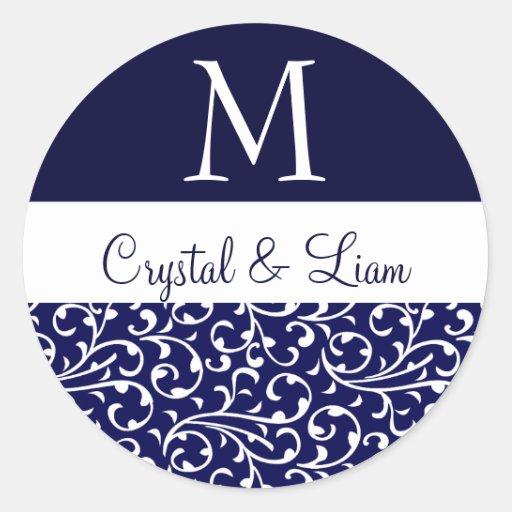 MIDNIGHT BLUE and WHITE Damask Wedding Monogram Sticker