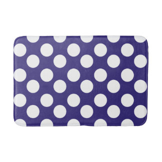 Midnight Blue and White Large Polka Dot Bath Mat