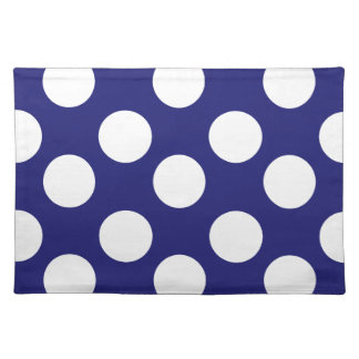 Midnight Blue and White Polka Dot Placemat