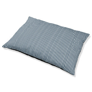 Midnight Blue and White Sailor Striped Pet Bed