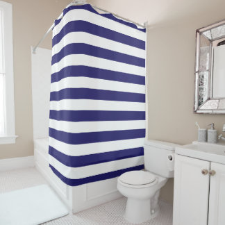 Midnight Blue and White Striped Shower Curtain