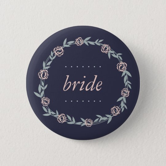 Midnight Blue, Blush Pink and Sage Bride 6 Cm Round Badge