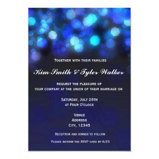 Midnight Blue Bokeh Light Sky Wedding Invitation