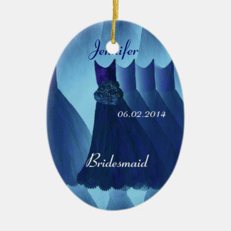 MIDNIGHT BLUE Bridesmaid Thank You Wedding Ceramic Oval Decoration