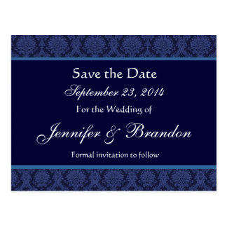 Midnight Blue Damask Save Date Postcard