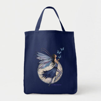 Midnight Blue Fairy Butterfly Tote Bag