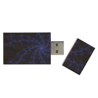 Midnight Blue Galaxy - fractal art Wood USB 3.0 Flash Drive