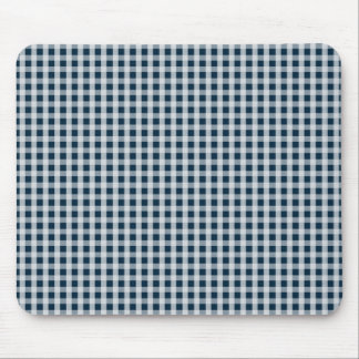 Midnight Blue Gingham Check Pattern Mouse Mat