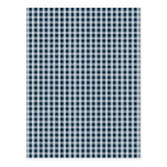 Midnight Blue Gingham Check Pattern Postcard