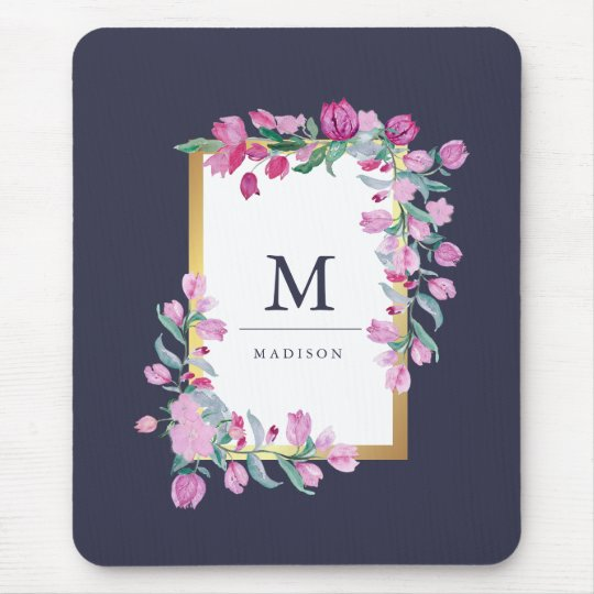 Midnight Blue, Gold and Pink Bougainvillea Flowers Mouse