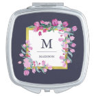 Midnight Blue, Gold and Pink Flowers with Monogram Vanity Mirror