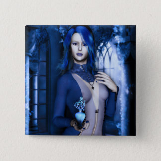 Midnight Blue Goth Witch Fantasy 15 Cm Square Badge