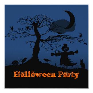 """Midnight Blue Halloween Scene Invitation 5.25"""" Square Invitation Card"""