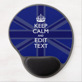Midnight Blue Keep Calm and Your Text Union Jack Gel Mouse Pad