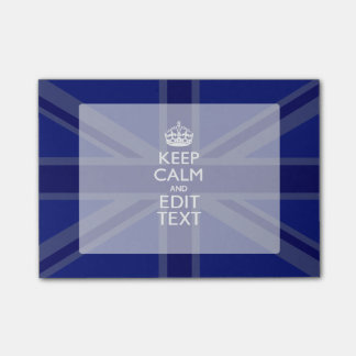 Midnight Blue Keep Calm and Your Text Union Jack Post-it Notes