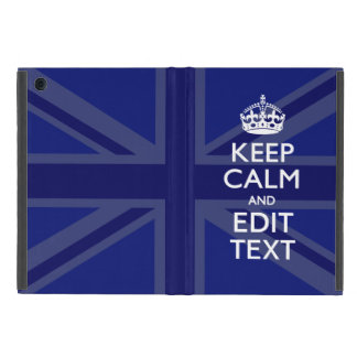 Midnight Blue Keep Calm Get Your Text Union Jack iPad Mini Cover