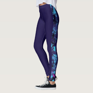 Midnight blue leggings with blue mosaic detail