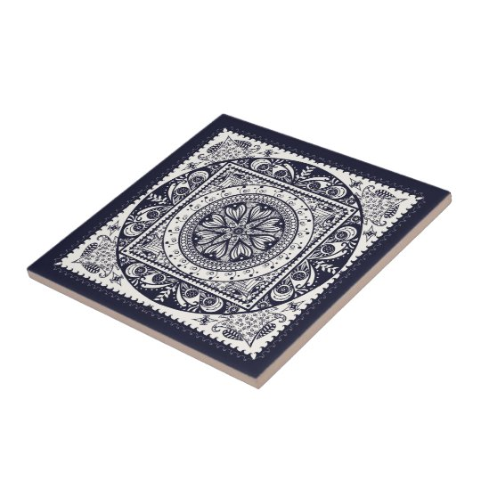 Midnight Blue Mandala Ceramic Art Tile