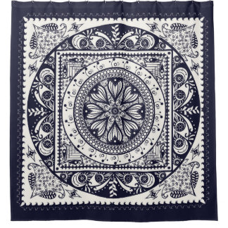 Midnight Blue Mandala Shower Curtain