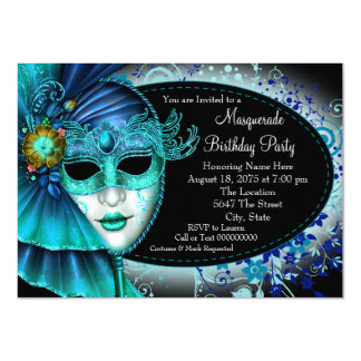 Midnight Blue Masquerade Party 4.5x6.25 Paper Invitation Card