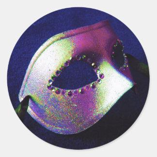 Midnight Blue Masquerade Round Sticker
