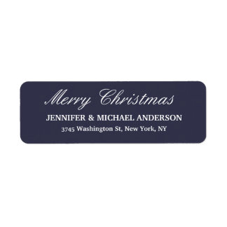 Midnight Blue Merry Christmas Message Family Sheet Return Address Label