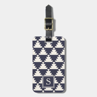 Midnight Blue Modern Aztec Geometric Monogram Luggage Tag