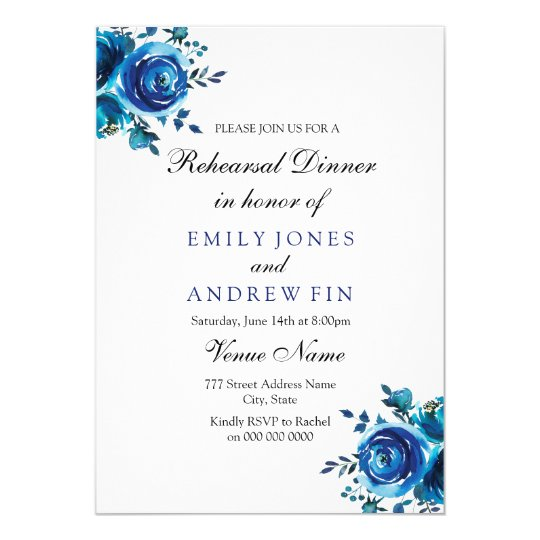 Midnight Blue Rose Floral Wedding Rehearsal Dinner Card