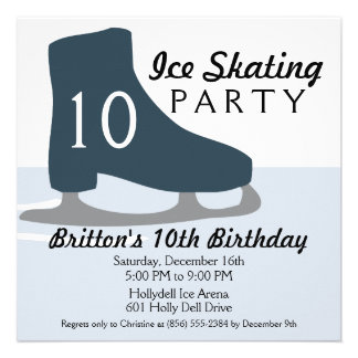 Midnight Blue Skate Date Ice Skating Party Invitation