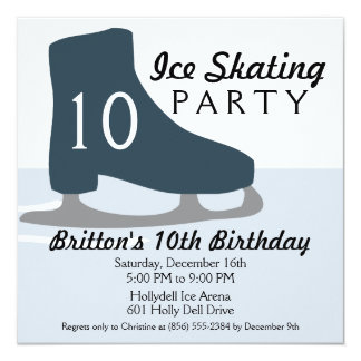 Midnight Blue Skate Date Ice Skating Party 13 Cm X 13 Cm Square Invitation Card