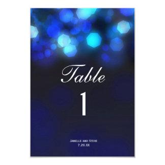 Midnight Blue Sky Bokeh Wedding Table Numbers Card