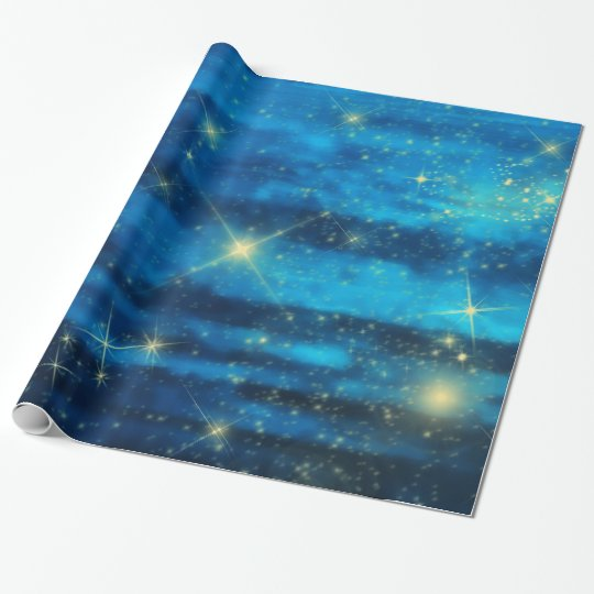 Midnight Blue sky with stars Wrapping Paper
