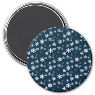 Midnight Blue Snow Flurries Fridge Magnets
