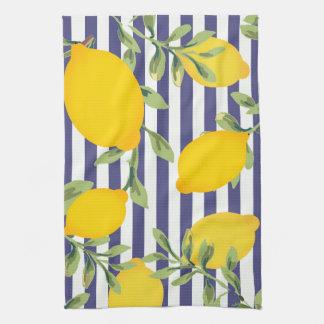 Midnight Blue Striped and Lemon Kitchen Towel