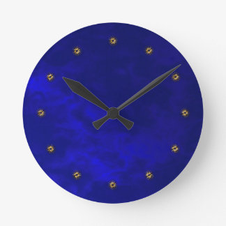 midnight blue velvet round clock