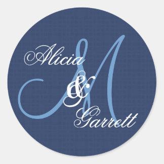 Midnight Blue Wedding Custom Monogram V21 Round Sticker