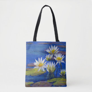 Midnight Blue, White Lily Flowers Tote Design