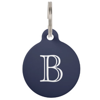 Midnight Blue White Monogram Name Pet ID Tag