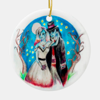 Midnight Blue Zombie Wedding Christmas Ornament