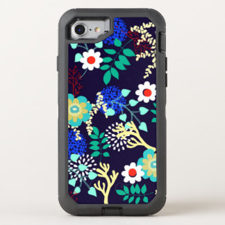 Midnight Botanical - Dark Abstract Floral Pattern OtterBox Defender iPhone 8/7 Case