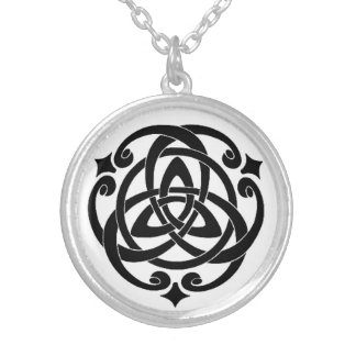 Midnight Celtic Circle Silver Plated Necklace