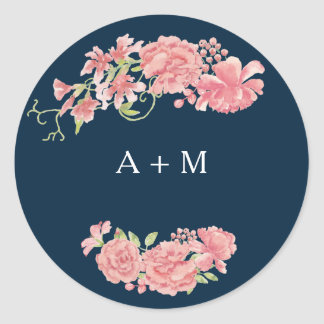 Midnight dark blue pink peonies wedding thank you round sticker