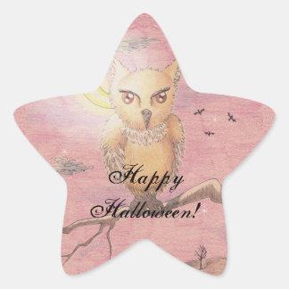 Midnight Eyes Cute Owl Halloween Goth Gothic Star Sticker
