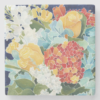 Midnight Florals II Stone Beverage Coaster