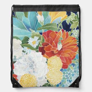 Midnight Florals III Drawstring Bag