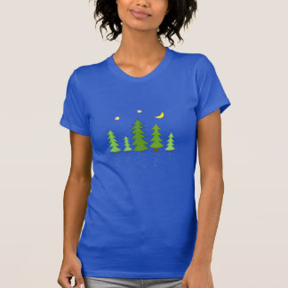 Midnight Forest with Trees Stars and Moon Shirts